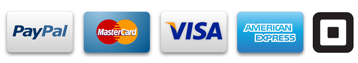 Logos of Accepted Credit Cards: Paypal, mastercard, visa, amex and square)